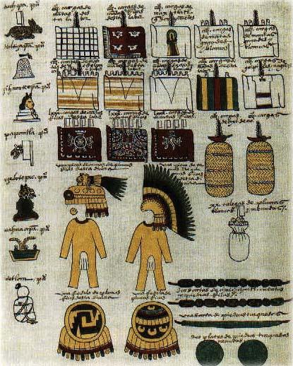 Extrait du codex de Mendoza (16e siècle). Ce document chiffre le tribut en nature payé par 7 villes aztèques aux seigneurs espagnols de Mexico.